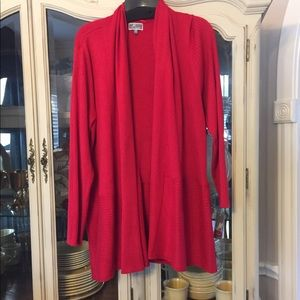 JM Collection NWT Red Cardigan Flyaway Wrap 2X